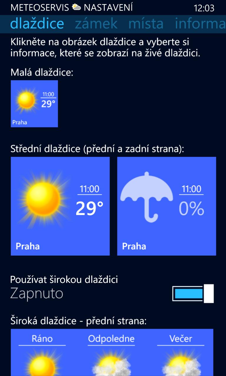 Update aplikace Meteoservis 1.10 pro Windows Phone