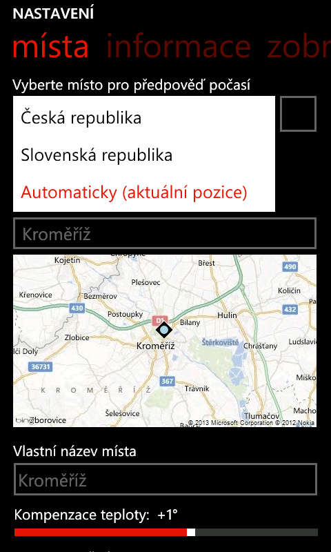 Meteoservis 2.10 pro Windows Phone s podporou geolokace