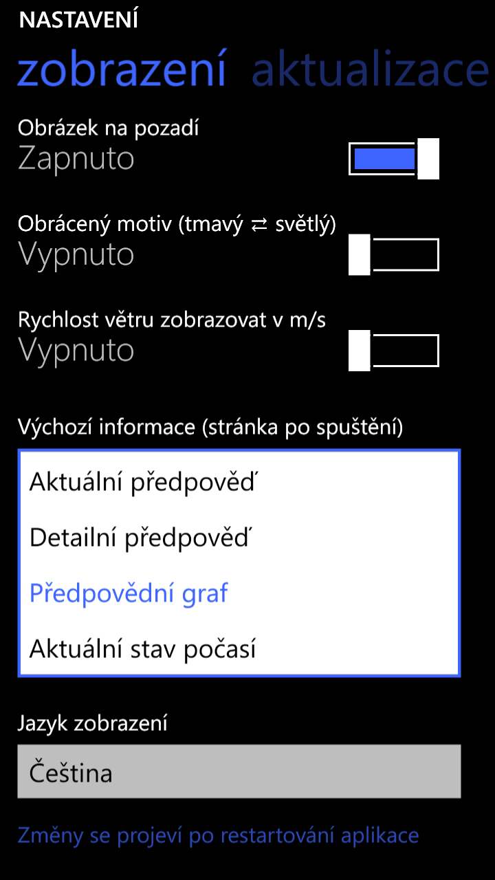 Letní update aplikace Meteoservis 2.83 pro Windows Phone