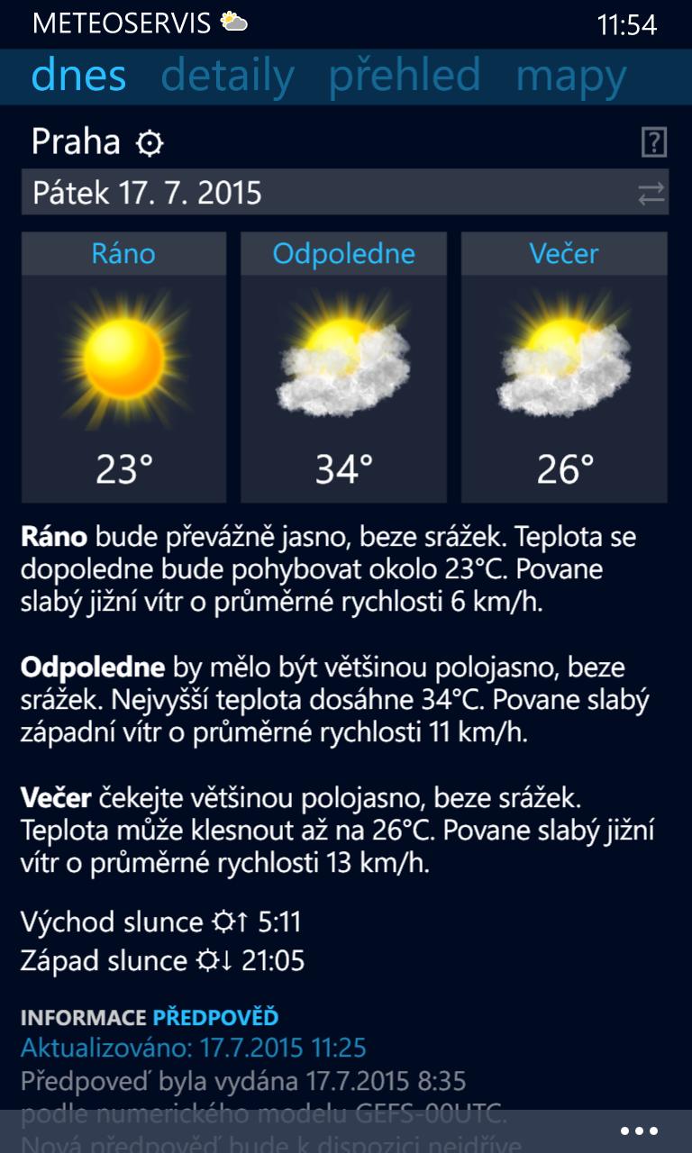 Meteoservis 2.0 - počasí pro Windows Phone nové generace